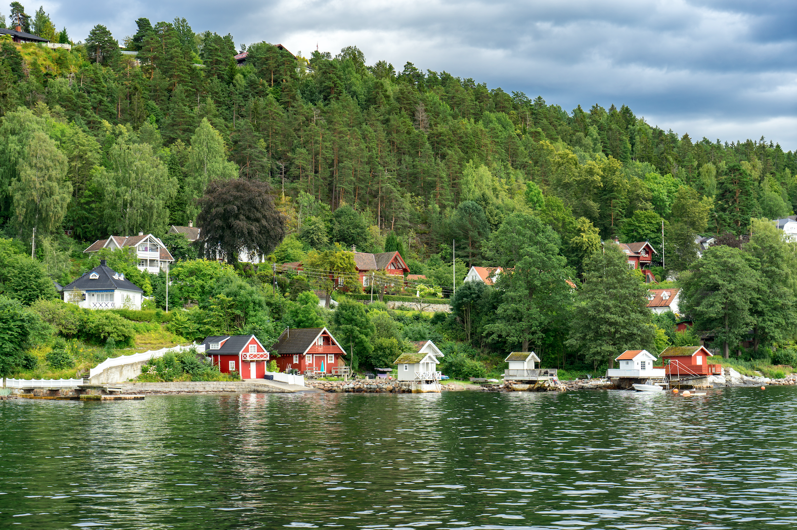 View of summer houses on an island.