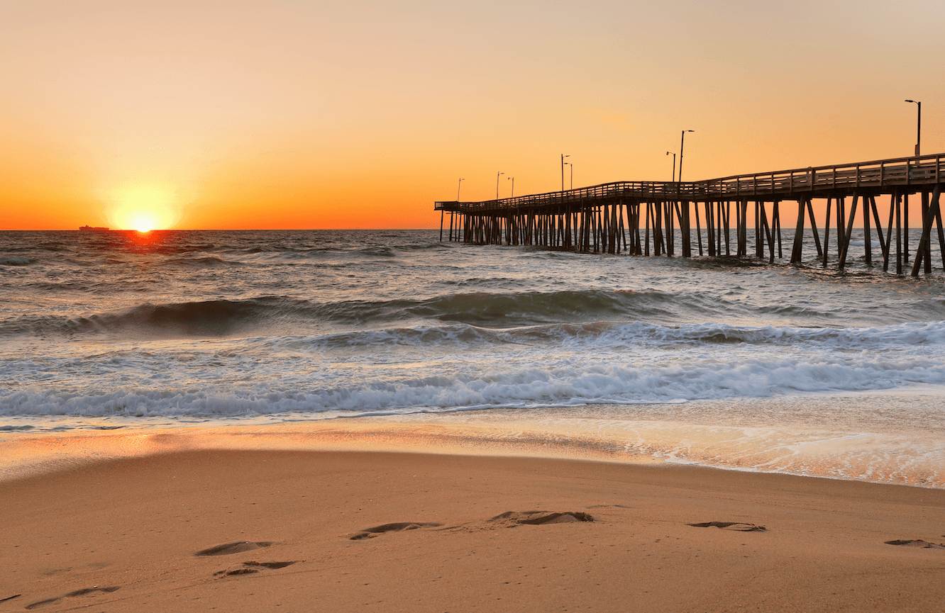Sunset view of Virginia Beach and its pier.
